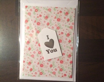 "Handmade Floral ""I Love You"" Card"