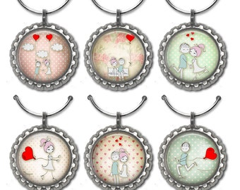Valentines Day Wine Charms, Hostess Gift, Wine Lover Gift, Wine Accessories, Wine Charm
