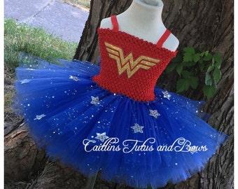 Wonder woman tutu- wonder woman tutu dress- wonder woman costume-  super hero tutu dress- superhero tutu- superhero tutu dress