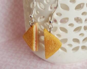 Food jewellery, grilled ham sandwich silver tone earrings, polymer clay food jewelry, miniature sandwich, dangle earrings
