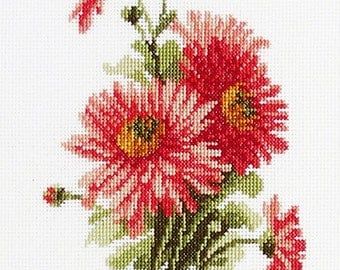 "Cross stitch pattern flower ""Asters"" Instant download in PDF"