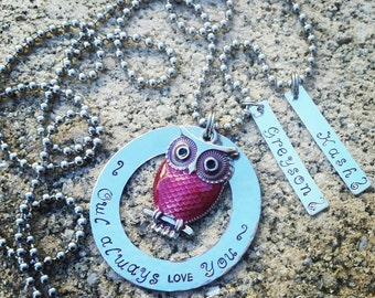 Owl Always Love You Necklace, Hand Stamped, Mommy necklace, Owl Necklace, Custom Necklace, Personalized, Gift for Mom, Name Necklace, Family