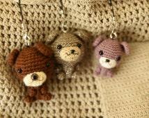 Amigurumi bear,Keychain, strap. cellphone strap. Crochet bear.