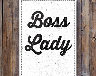 """Digital Printable Wall Art Vintage """"Boss Lady"""" Typography Motivation Inspiration Quote Home Decor Wall Art"""