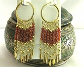 Long Carnelian Dangle Earrings - Egyptian Royalty