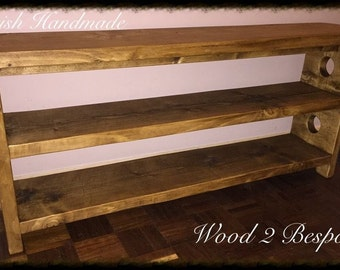 Bench With Double Straight (Shoe) Shelves - Hand Made Rustic Pine Wood Bench