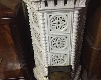 Huge Reclaimed Manor House French Antique Solid Fuel Burner, Marble Top