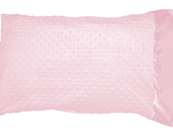 Baby Pink Minky Dot Pillowcase Pillow Case with Baby Pink Satin Trim, Soft Minky Pillowcase, Standard Size, Queen Size, King Size Pillowcase