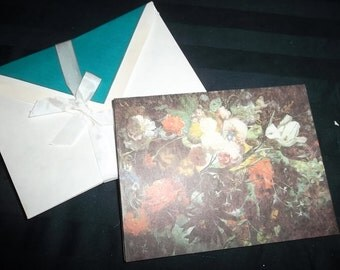Vintage Floral Notecards and  Matching Lined Envelopes, Set of 10