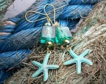 Starfish earrings, turquoise, bronze, verdigris, silver foil beads, Sea Ocean Beach, also as clip-on earrings