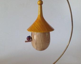 Miniature wooden birdhouse. Christmas ornament, Wooden birdhouse (4)