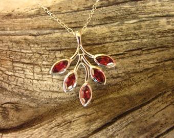 Garnet & Sterling Silver Leaf Pendant - #52