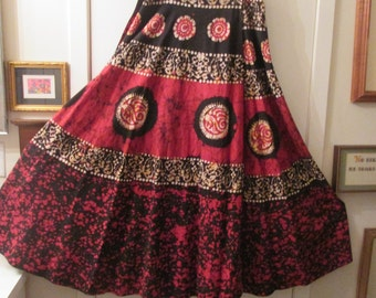 Vintage  Indonesian Batik maxi wrap skirt in rich red black gold and white colors with full circle skirt. Boho hippie gypsy chic. Size L XL