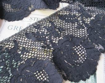 Antique Victorian Deep Black Cluny lace Trim- Large Flowers- 360 cm