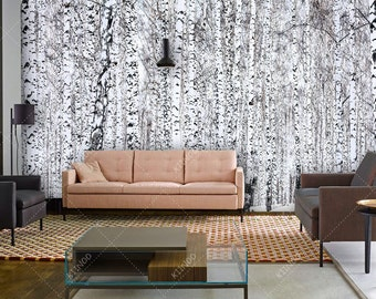 Wallpaper for walls trees images for Birch trees wallpaper mural