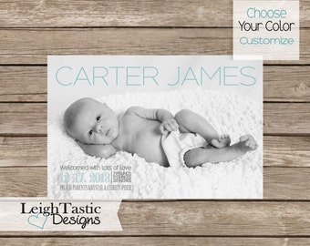 CUSTOM BABY ANNOUNCEMENT- Print at home, Choose Your Color,  Newborn Announcement- Boy Announcement- Girl Announcement- Digital Download