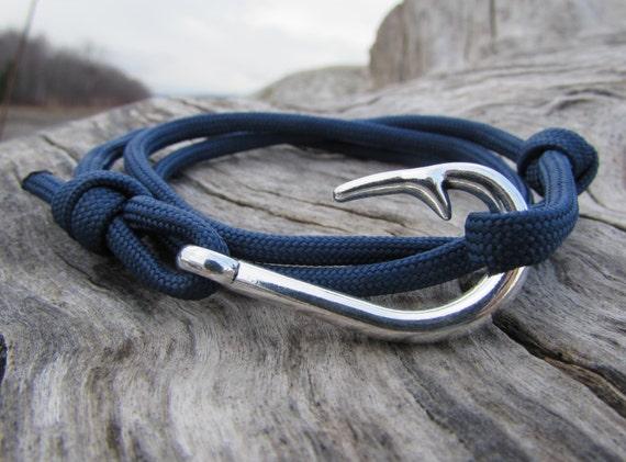 Fish hook bracelet mens anchor bracelet by northhooksupplyco for Mens fishing bracelet