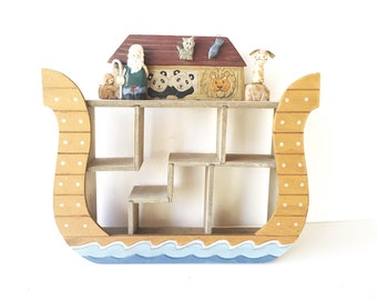 Vintage Noah's Ark Curio Wall Shelf