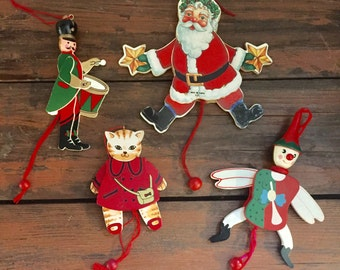 Vintage Pullstring Ornaments/ Wooden/ Santa, Drummer, Cat and Angel/ Made in Taiwan