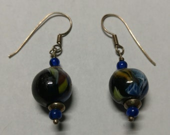 Colorful glass bead earring