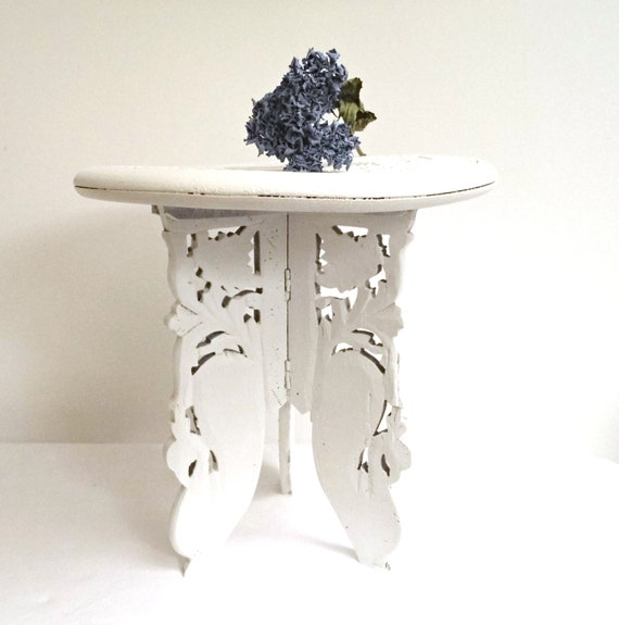Vintage End Side Coffee Table White Stool Rustic Plant Stand