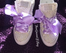 White wedding converse with your choice color and thick satin ribbon!