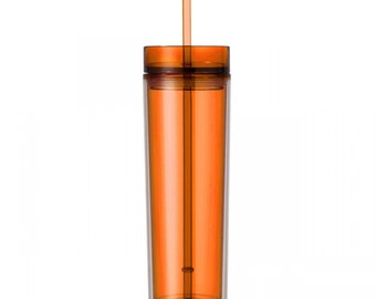 Orange Skinny Tumbler with Straw- 16 oz.