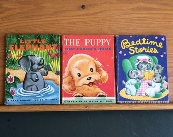 Vintage Trio of Rand McNally Junior Elf Books Little Elephant, The Puppy That Found a Home, and Bedtime Stories