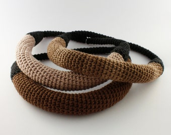 Crochet brown necklace, Unique necklace, Statement jewellery, Yarn necklace,