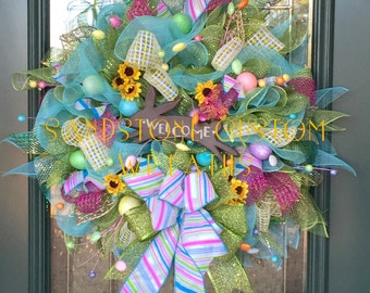 Welcome Wreath, Spring Wreath, Easter Wreath, Deco Mesh Wreath, Wreath