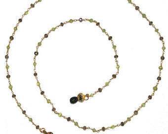 Gold with Perdiot and Smoky Quartz Eyeglass Chain 30""