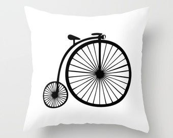 16x16 18x18 20x20 Decorative Pillow Cover: Vintage Bicycle, Modern, Minimalist, Black and White, Quote, Throw Pillow, Cushion