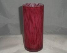 Stunning Pink vase by Maltese glassmaker Mtarfa. Signed pink cased glass vase in Mtarfa's Cobra style. Signed