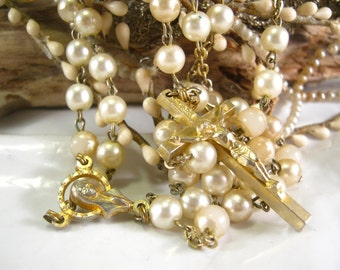 Vintage italian faux pearl beads rosary chapelet