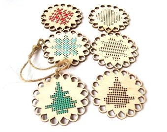 Set of 3 Christmas cross stitch blank, Snowflakes, Wooden cross stitch blank, plywood blank, cross stitching, Christmas decor