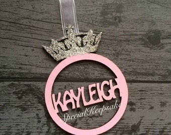 Personalised Wooden Crown Christmas Tree Bauble Decoration Glitter Sparkle Prince Princess Unique Bespoke Festive