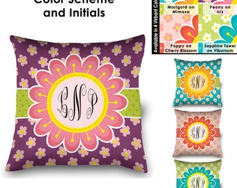 """16"""" Square Blooming Spring Monogrammed Linen Pillow"""