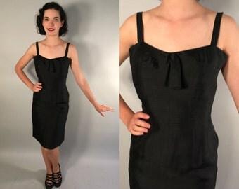 Vintage 1960s Dress | Black Silk Wiggle Dress with Sweetheart Neckline | Medium