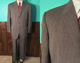 Vintage 1950s Men's Suit | Dated 1954 Two Piece Suit with Hollywood Waist Trousers | Size 42