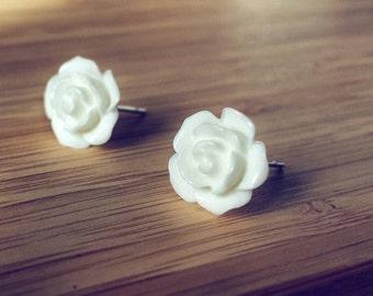 White rose earrings, rose earrings, rose stud earrings, flower earrings,  flower stud earrings, floral earrings, floral stud earring