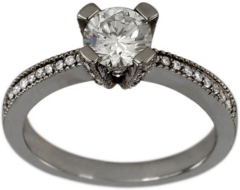 Engagement Ring 1ct Diamond With Pave Diamond Prongs 0.25ctw In 14k White Gold