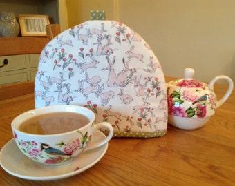 Tea Cosy, tea cozy. Small cosy in pretty Hare of Jack Rabbits on a cream base