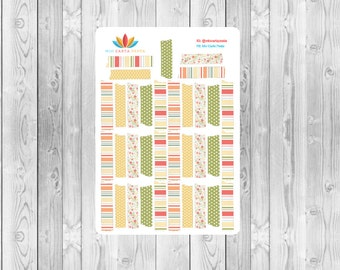 S169 -  35 Striped, Dotted & Floral Washi Planner Stickers