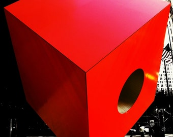 Poster - Red cube, Manhattan 24x36.