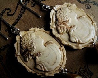Cameo ivory earrings