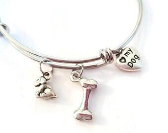 Dog charm bracelet - Dog bracelet - Puppy bracelet - Dog lovers bracelet - Dog bangle bracelet - I love my dog bracelet - Puppy