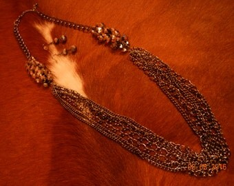Sparkly Clustered Faceted Glass Beaded Chain Necklace/Earrings