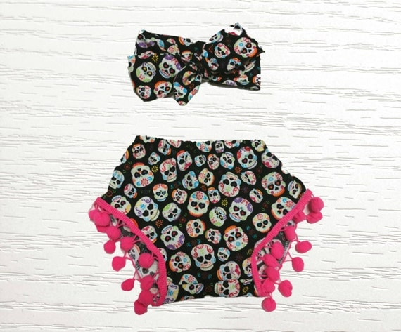 pomeranian skull sugar skull pom pom shortie and head wrap set day of the 1364