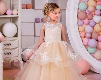 Blush Beige Lace Tulle Flower Girl Dress - Birthday Wedding party Bridesmaid Holiday Blush Beige Tulle Lace Flower Girl Dress 15-025