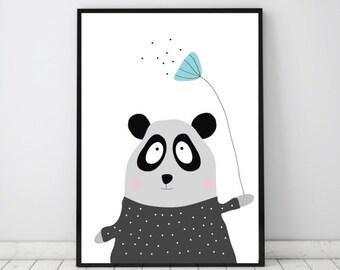 Kids poster, Nursery print, Panda, Kids room art, Graphic art, Childrens wall decor, Nursery decoration, Childrens animalprint,